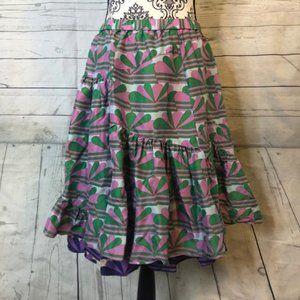 Marc Jacobs Silk Blend Geometric Skirt S Purple